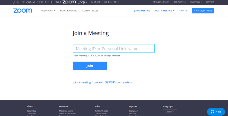 login page for Zoom online conference