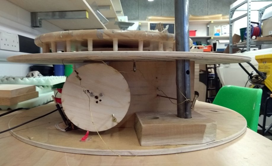 prototype machine that will make patterns from sound when it is working