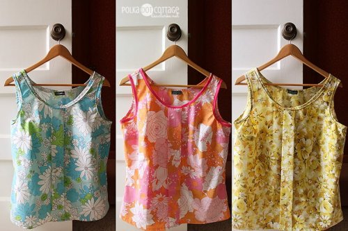 Colette Sorbetto Tanks made from vintage sheets @lclarke522