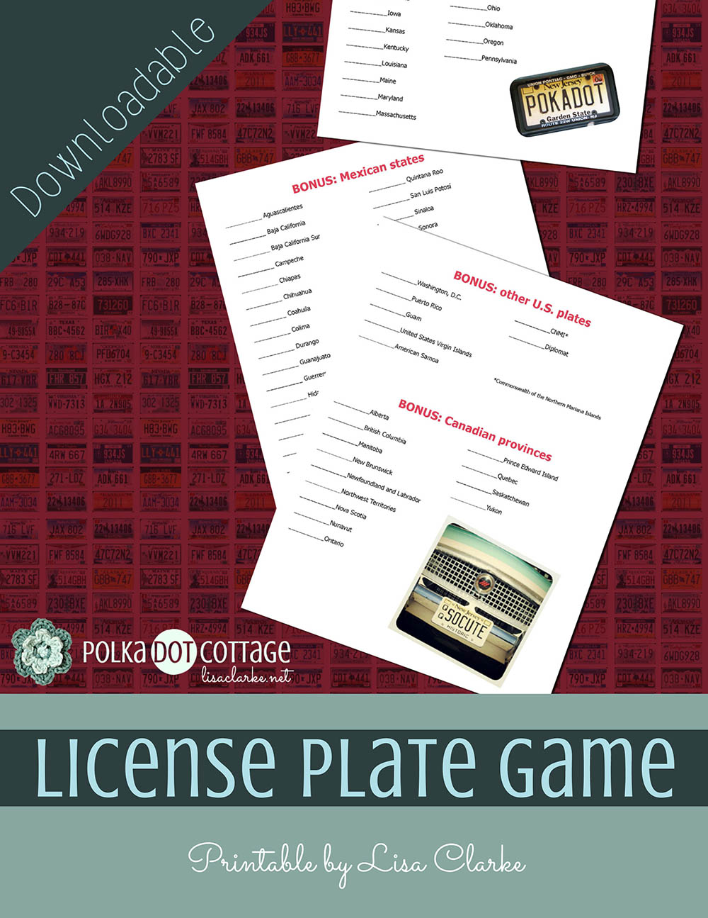 image about License Plate Game Printable known as License Plate Video game Printable