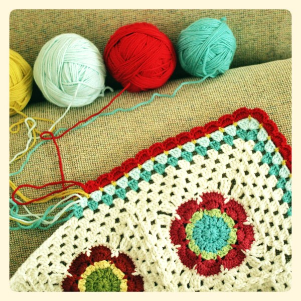 Mod Floral Blanket, almost done! at Polka Dot Cottage
