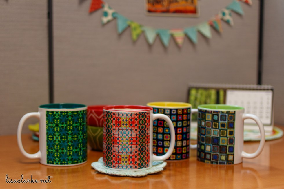 Ways to Make Your Cubicle Less Awful: Colorful Custom-Made Mugs from Zazzle