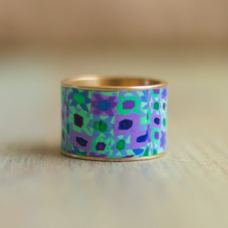 Polka Dot Cottage Channel Ring in Blue Calico