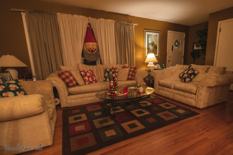 Tacky Santa: Living Room Decorated