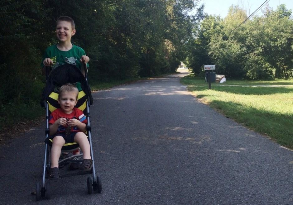 micah pushing stroller