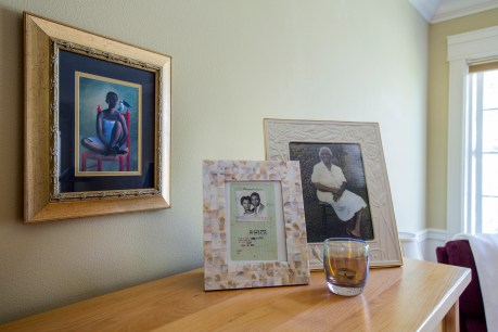 a space of her own includes framed family mementoes