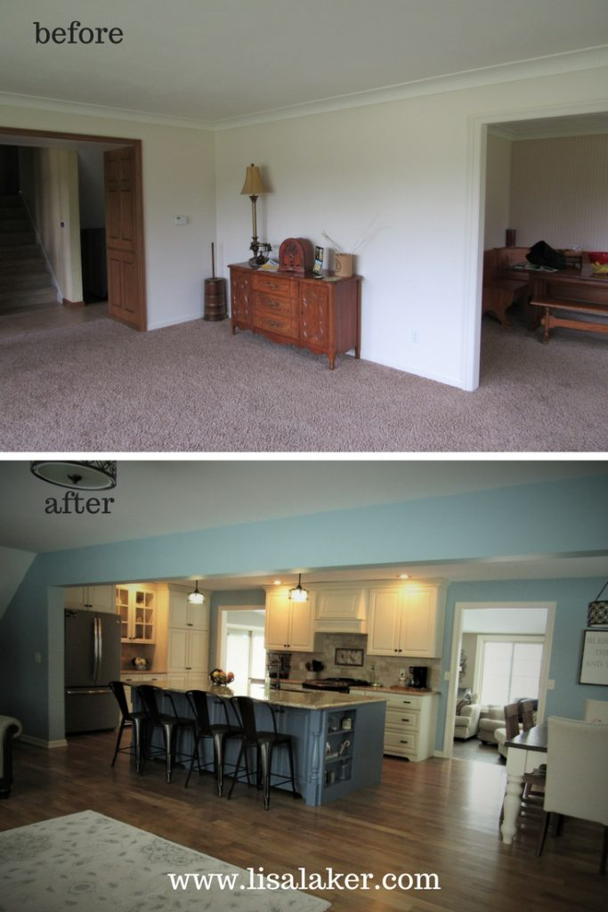 Open Concept Kitchen Remodel Before And After Lisa Laker Interiors