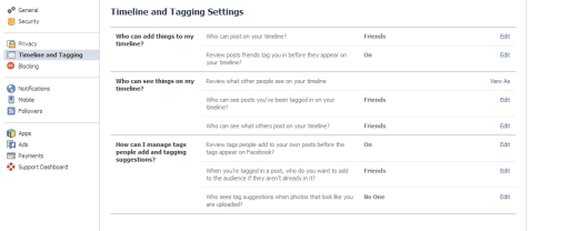 timeline settings