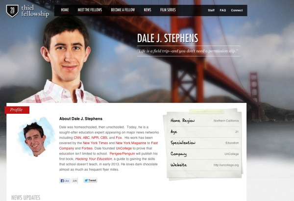 screenshot of Dale Stephens  thiel fellowshop page