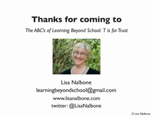 Ending slide with htank you and contact information for Lisa Nalbone