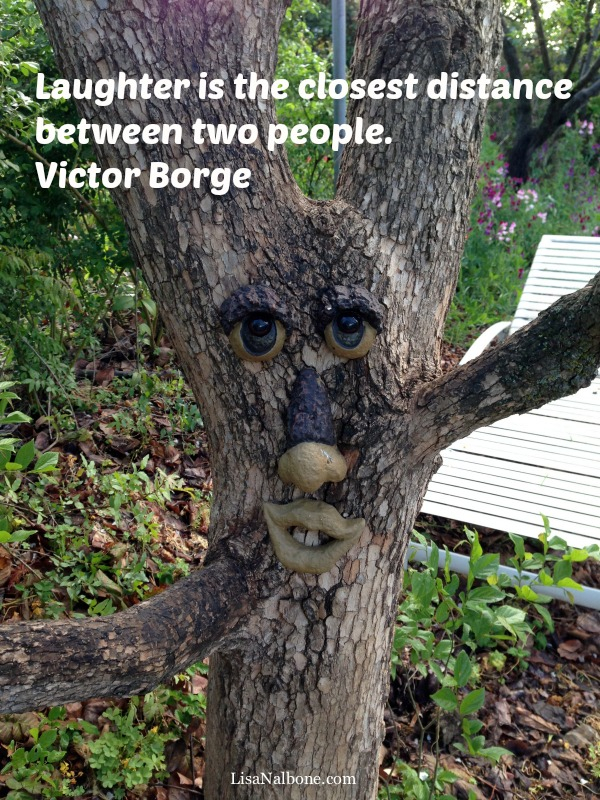 A paragraph has 3 farts blog post. Photo of Funny tree face with Victor Borge laughter quote.