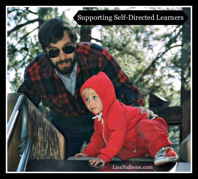 Dale Stephens as a baby climbing up a slide being supported by his dad. Supporting self-directed learners.