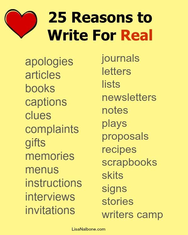 25 reasons to write for real LisaNalbone.com