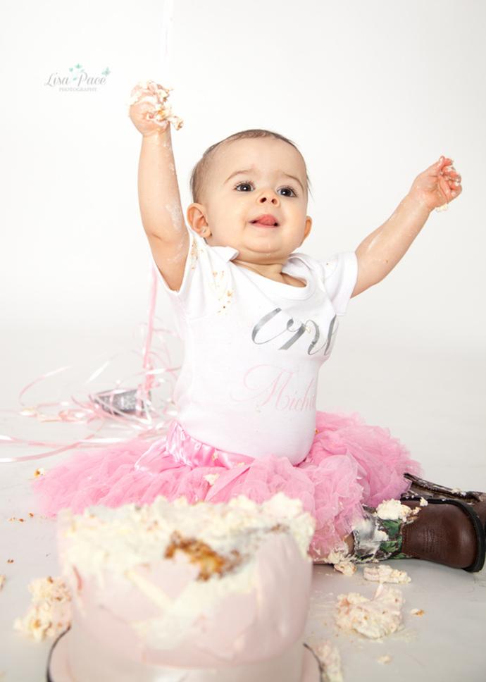 girl studio cake smash session