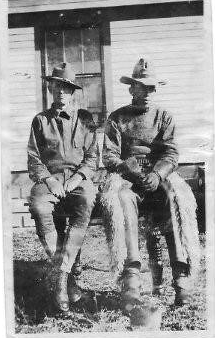 Home on furlough, Will Whitcher (left) and William Whiting,(Hattie's brother), 1918