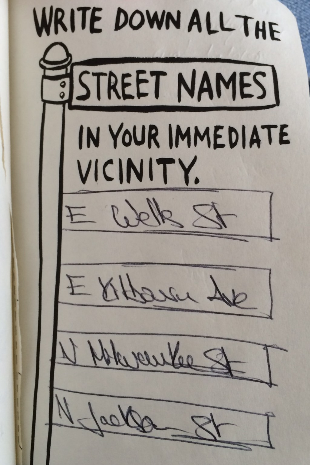 Write down all the street names in your immediate vicinity.