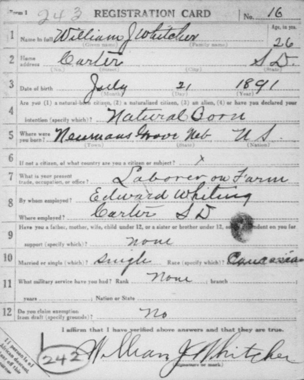 William J. Whitcher Draft Card, Front