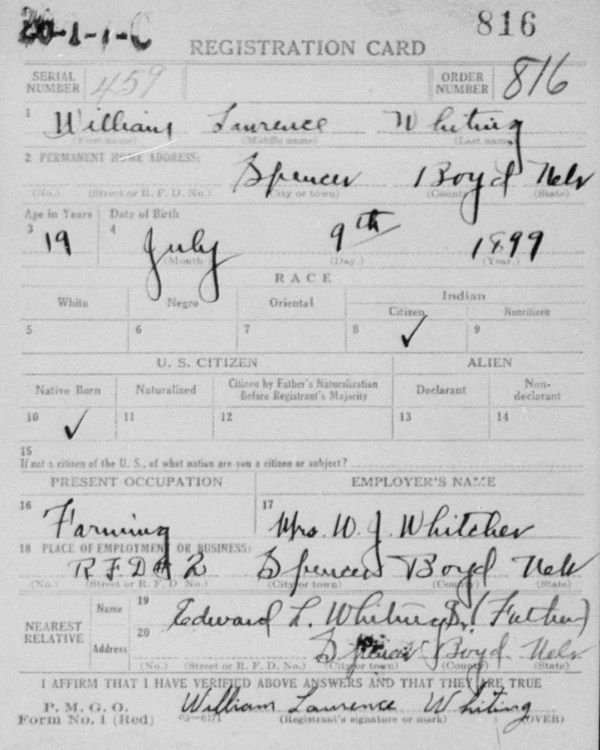 William L. Whiting Draft Card, Front
