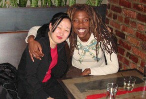 Before reading at Elliot Bay Book Company in Seattle, she relaxes with Yoona Lee at the Alibi Room.