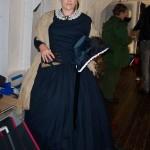 1850swool dress, velvet bonnet