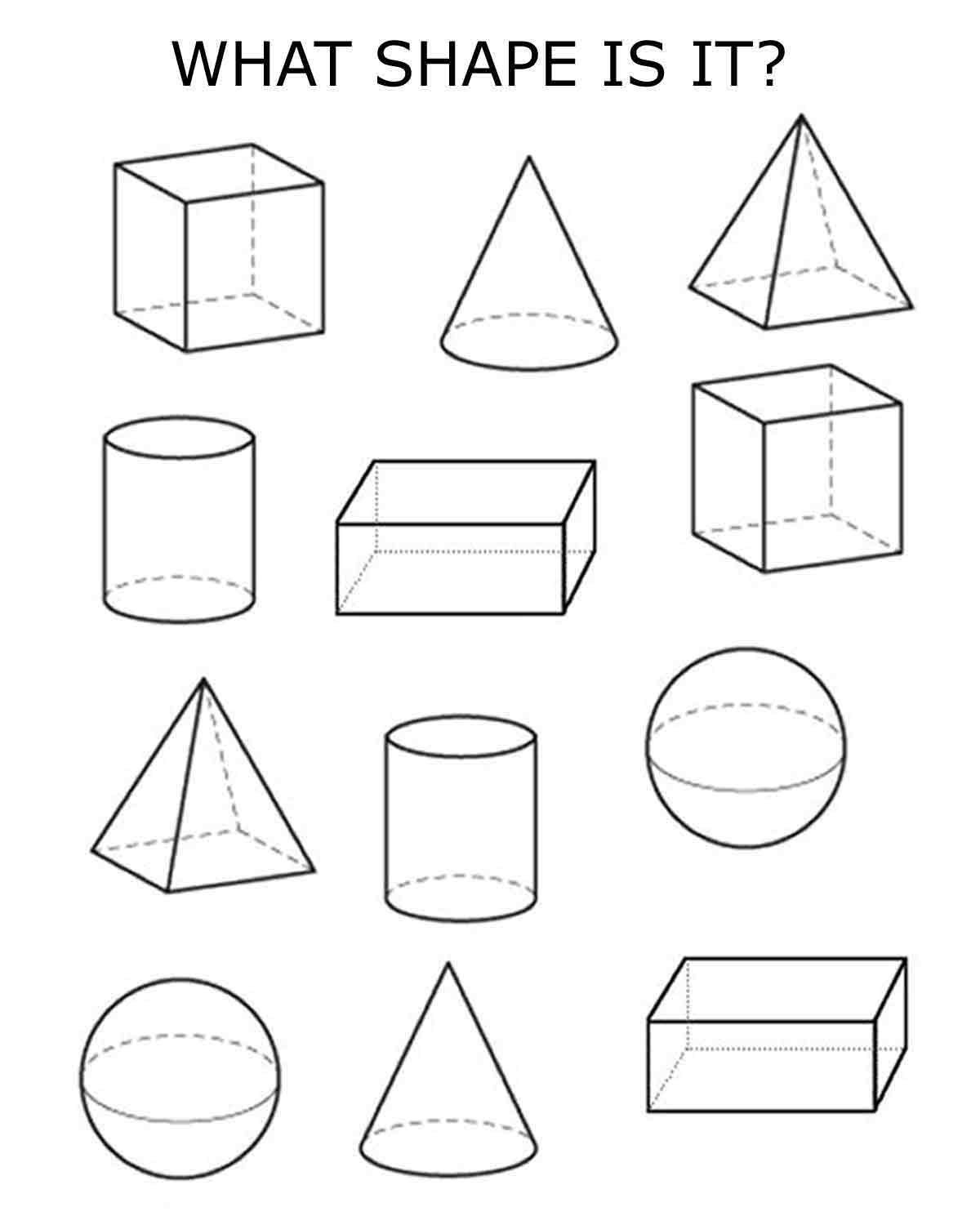 3d Shapes Clip Art Black And White