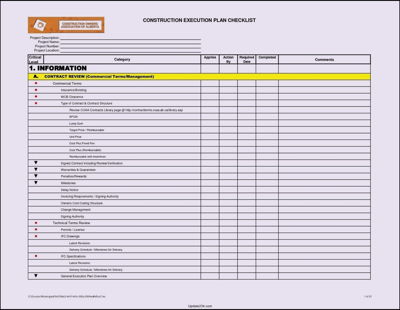 Project Checklist Template Excel Template Update234