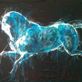 """""""Lusitanien, le gris"""" - Acryliques et craies, vernis sur tissu - 2m50 x 2m50"""