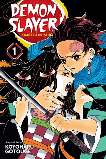 Cover art for Demon Slayer volume 1. Tanjio holds his sister Nezuko in one arm, while brandishing a sword as if someone is trying to attack her, while Nezuko, fangs bared, clutches his shirt.