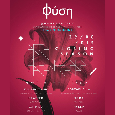 29.08 Φύση Closing Season w/ DUSTIN ZAHN [Enemy - Drumcode - USA] + PORTABLE live [Perlon - Live At Robert Johnson]
