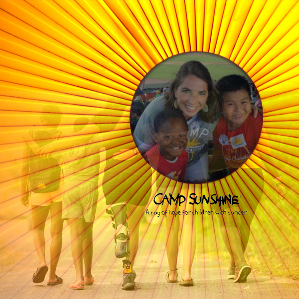 On a background that resembles both a sunflower and the sun, program manager Stephanie Irwin poses at a baseball game with two Camp Sunshine kids. Photos © Camp Sunshine Savannah and FreeImages/Joonas Lampinen