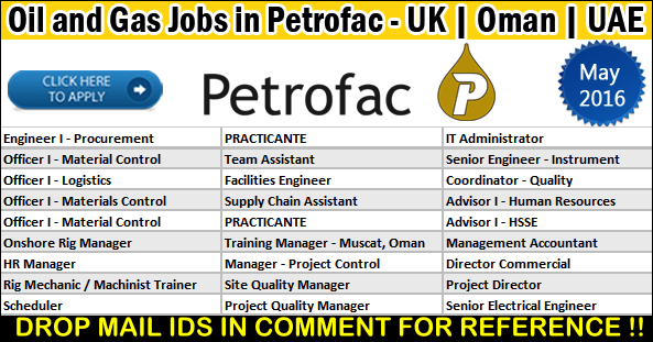 Latest Oil and Gas Job Vacancies in Petrofac 2017  | Any Graduate/ Any Degree / Diploma / ITI |Btech | MBA | +2 | Post Graduates | UAE ,UK,Malaysia