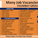 Huge Job Vacancies in Thumbay Group@UAE