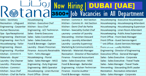 Latest Job Vacancies in Rotana Hotel Management Corporation| Any Graduate/ Any Degree / Diploma / ITI |Btech | MBA | +2 | Post Graduates  | Bahrain,Egypt,Iran,Jordan,Iraq,Oman,Qatar,Lebanon,Kuwait,Saudi Arabia,Sudan,Turkey,UAE