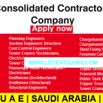 Latest Job Vacancies in Consolidated Contractors Company | Any Graduate/ Any Degree / Diploma / ITI |Btech | MBA | +2 | Post Graduates | UAE