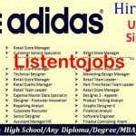 2000+ Latest Job Vacancies in Adidas | Any Graduate/ Any Degree / Diploma / ITI |Btech | MBA | +2 | Post Graduates | Dubai,UAE,Singapore,Malaysia,India|Across World