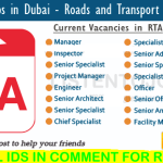 Latest Job Vacancies in Roads and Transport Authority | Any Graduate/ Any Degree / Diploma / ITI |Btech | MBA | +2 | Post Graduates  | Dubai ,UAE