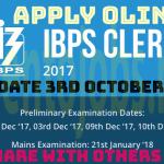 8000+  IBPS Clerk Recruitment 2018 | Any Graduate | Across India | Last Date 3rd October 2017| Apply Online