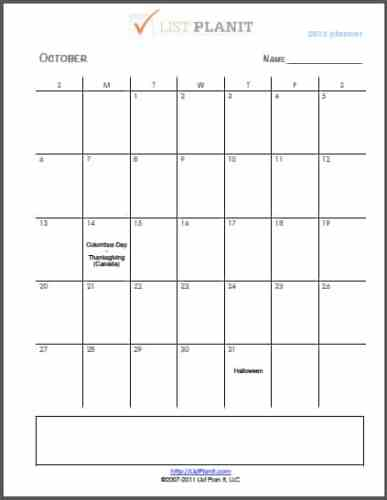The Month Ahead: October 2013   ListPlanIt.com