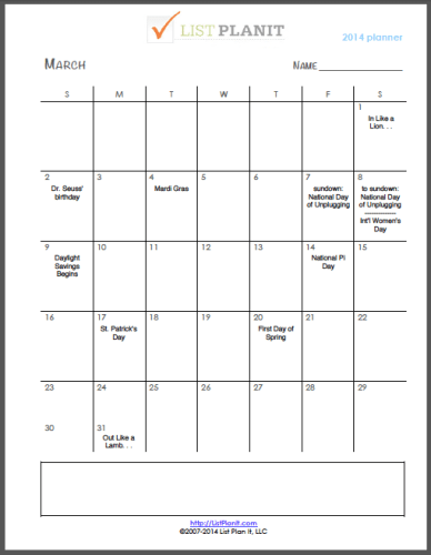 March 2014 | ListPlanIt.com