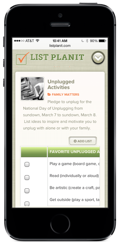 List Spotlight: Unplugged Activities | ListPlanIt.com