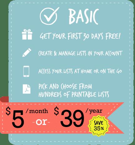Basic Membership | ListPlanIt.com