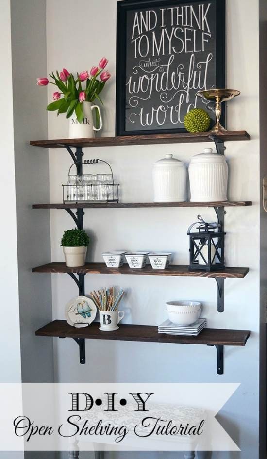 DIY Stained Open Shelving
