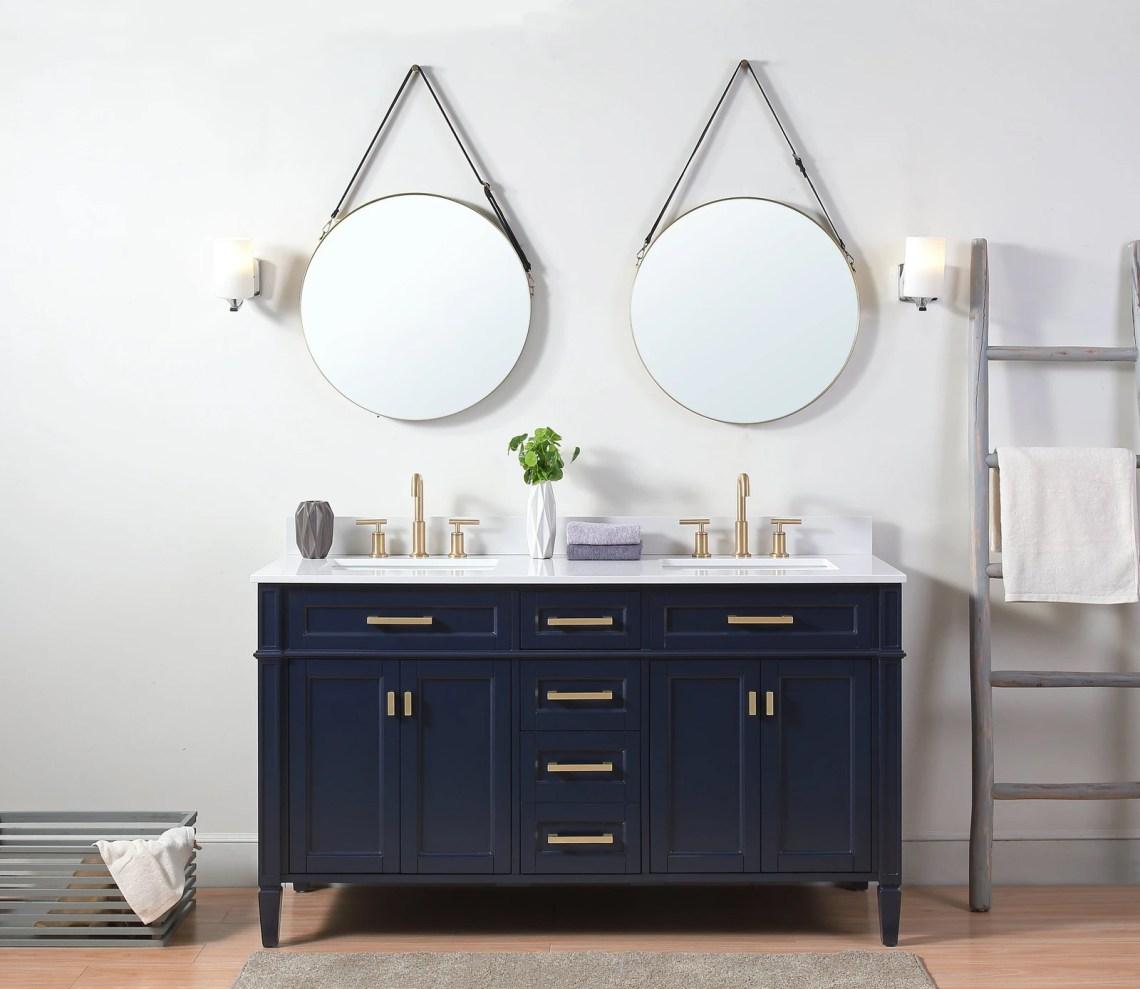 """60"""" Modern Navy Blue Double Sink Bathroom Vanity"""