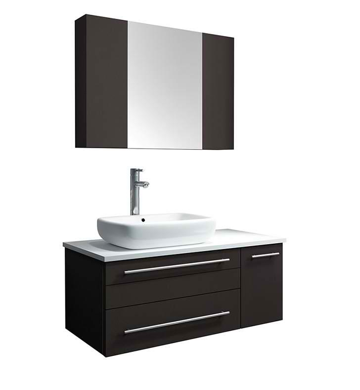 "36"" Espresso Wall Hung Vessel Sink Modern Bathroom Vanity ..."
