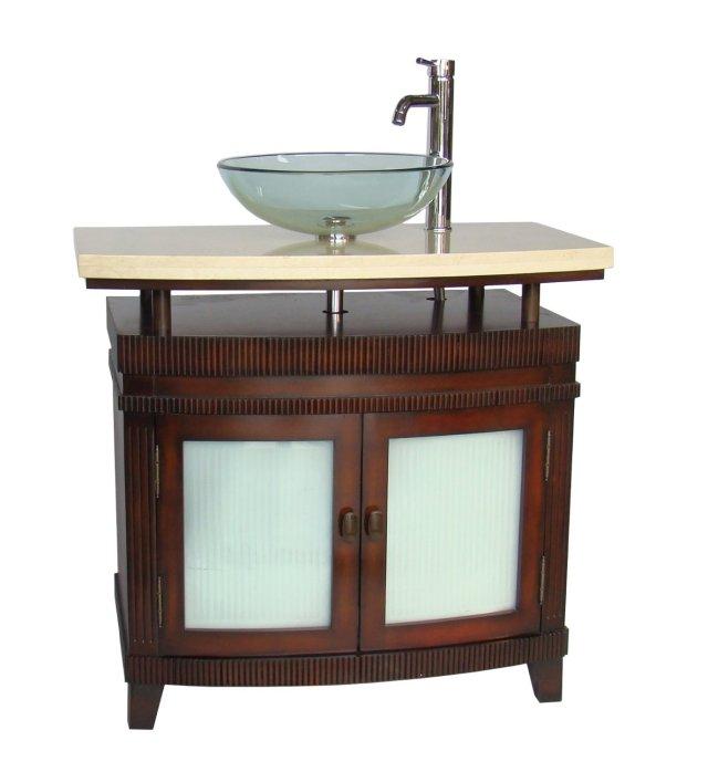 Adelina 36 inch Vessel Sink Bathroom Vanity Red Cherry finish