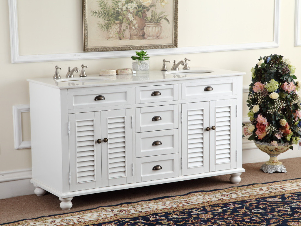 adelina 60 inch antique white double sink bathroom vanity, marble