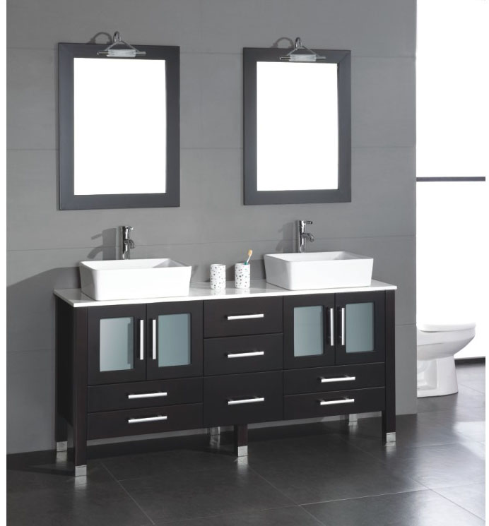 63 solid wood double sink vanity with