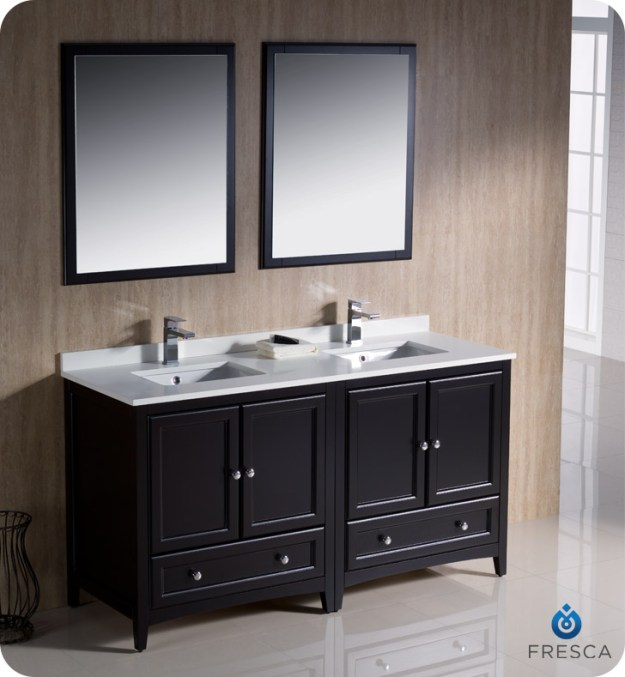 "fresca oxford collection 60"" espresso traditional double bathroom"