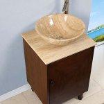 Silkroad 20 Inch Travertine Vessel Sink Vanity English Chestnut Wood Finish