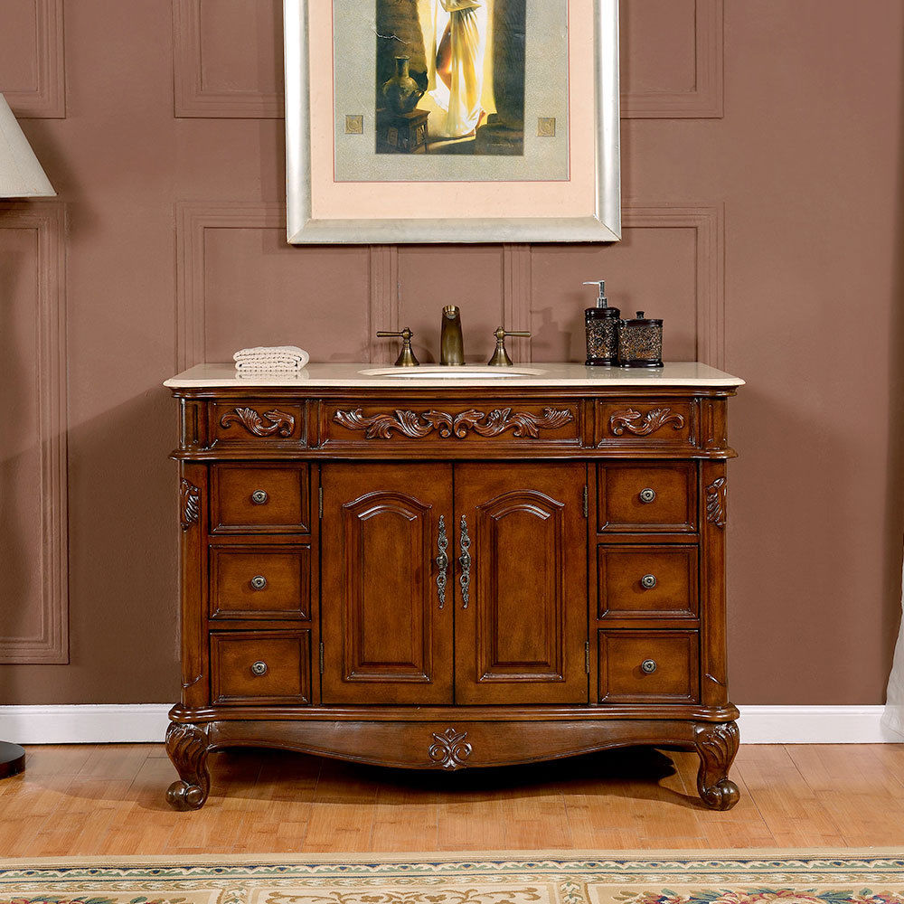 silkroad 48 inch antique single sink bathroom vanity cream marfil